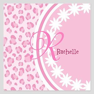Stylish Pink and White Monogram 5.25 x 5.25 Flat C