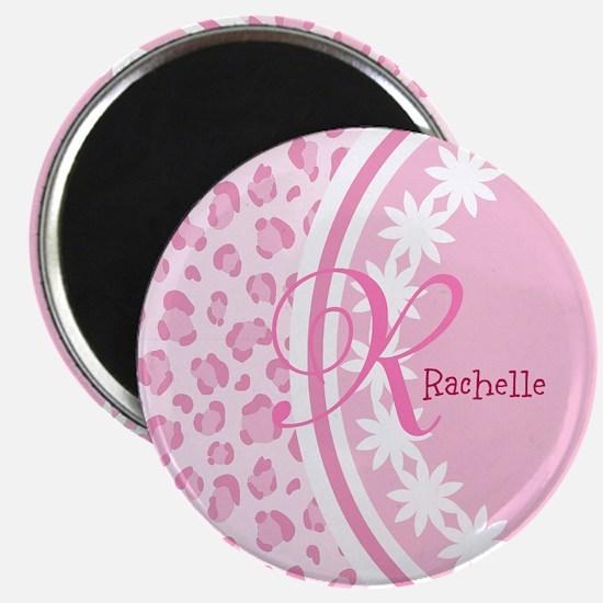 Stylish Pink and White Monogram Magnet
