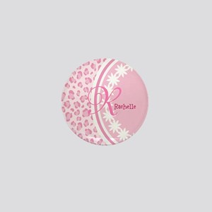 Stylish Pink and White Monogram Mini Button