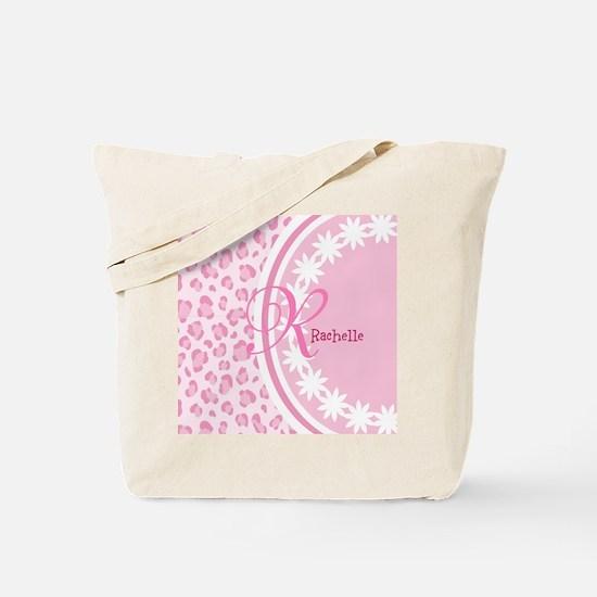 Stylish Pink and White Monogram Tote Bag