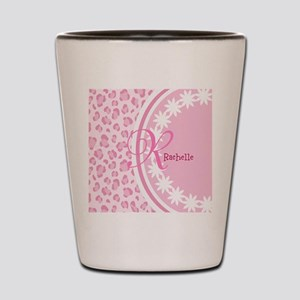 Stylish Pink and White Monogram Shot Glass