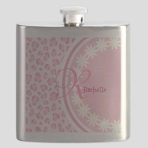 Stylish Pink and White Monogram Flask