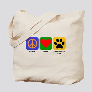 Peace Love Chocolate Lab Tote Bag