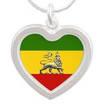 Rasta heart Necklace reggae colors ethiopian lion