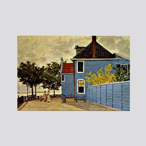 Monet - The Blue House at Zaandam Rectangle Magnet