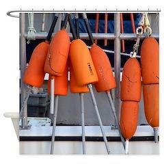 Orange Buoys Shower Curtain
