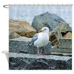 Sardonic Seagull Shower Curtain
