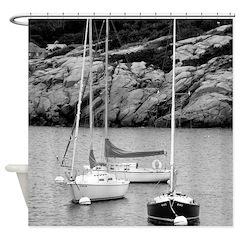 Three Sailboats Shower Curtain