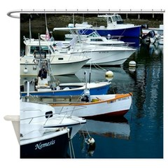 Harbor Boat Lineup Shower Curtain