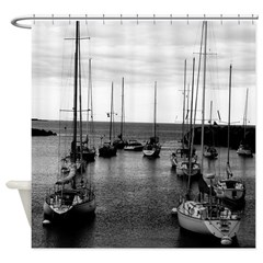 Sailboats At Harbor Mouth Shower Curtain