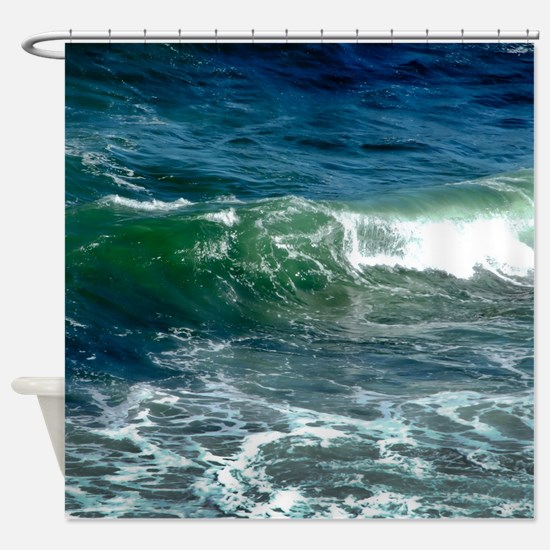 Blue Green Wave Shower Curtain