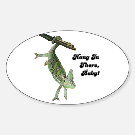 Hang In There Chameleon Oval Decal