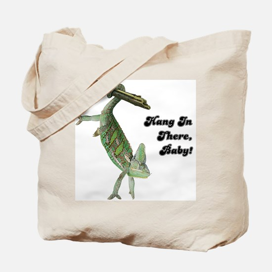 Hang In There Chameleon Tote Bag