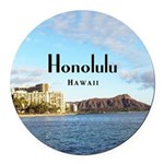 Honolulu Round Car Magnet