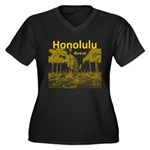 Honolulu Women's Plus Size V-Neck Dark T-Shirt