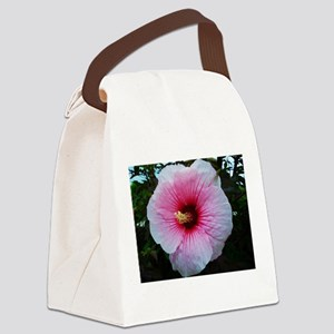 Pink Hibiscus Canvas Lunch Bag