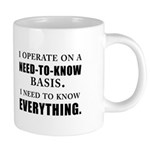Need to Know (black) Mugs
