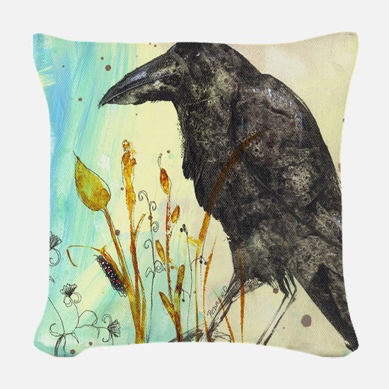Raven Lunatic Woven Throw Pillow
