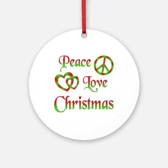 Peace Love Christmas Ornament (Round)