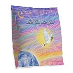 Let Go-Dove-World Burlap Throw Pillow