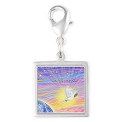 Let Go-Dove-World Silver Square Charm