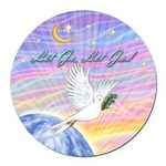 Let Go-Dove-World Round Car Magnet