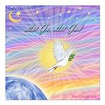 """Let Go-Dove-World Square Car Magnet 3"""" x 3&qu"""