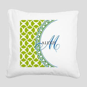 Blue Lime Monogram Square Canvas Pillow