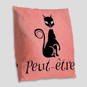 Black Cat on Pink-Peut-etre Perhaps Burlap Throw P
