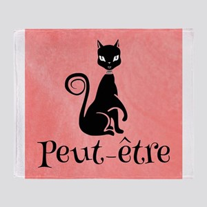 Black Cat on Pink-Peut-etre Perhaps Throw Blanket
