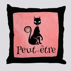 Black Cat on Pink-Peut-etre Perhaps Throw Pillow