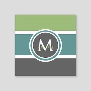 "Elegant Modern Monogram Square Sticker 3"" x 3"""