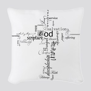 Christian cross word collage Woven Throw Pillow