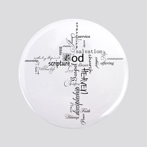 """Christian cross word collage 3.5"""" Button"""