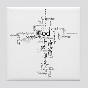 Christian cross word collage Tile Coaster