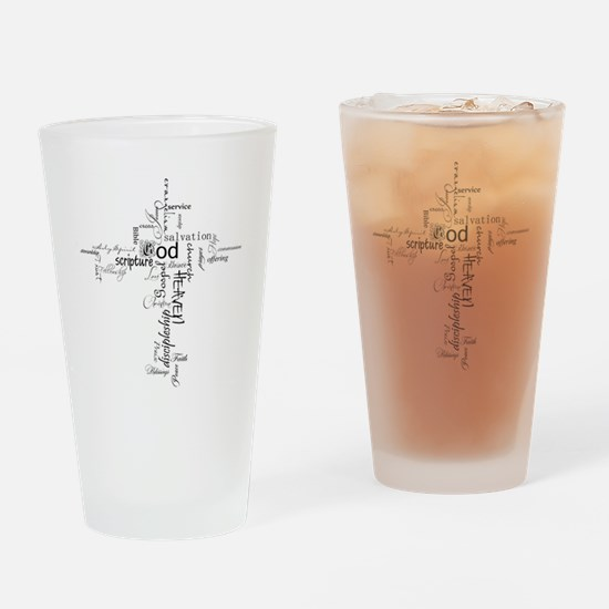 Christian cross word collage Drinking Glass