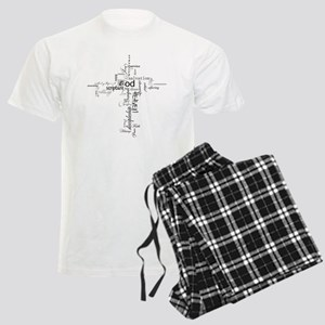 Christian cross word collage Men's Light Pajamas