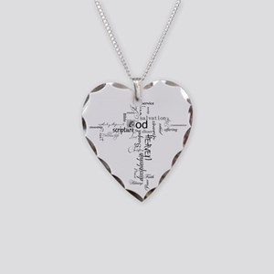 Christian cross word collage Necklace Heart Charm