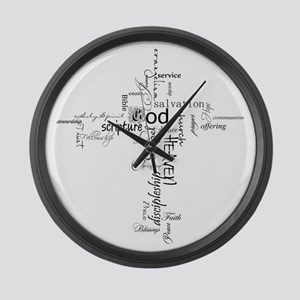 Christian cross word collage Large Wall Clock