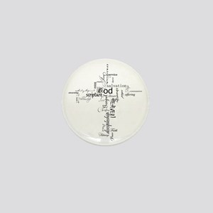 Christian cross word collage Mini Button
