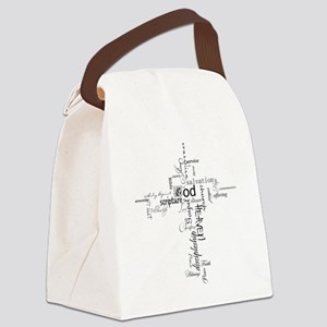 Christian cross word collage Canvas Lunch Bag