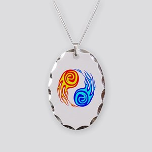 Fire & Water Yin Yang Tattoo Necklace Oval Charm