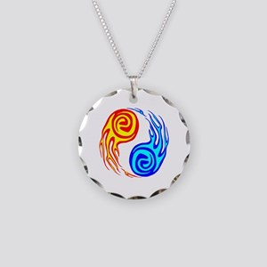 Fire & Water Yin Yang Tattoo Necklace Circle Charm