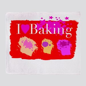I Love Baking Throw Blanket