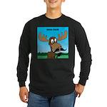 Moose-Stache Long Sleeve Dark T-Shirt