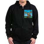Moose-Stache Zip Hoodie (dark)