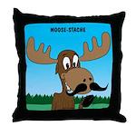 Moose-Stache Throw Pillow