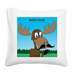 Moose-Stache Square Canvas Pillow