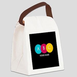 Bright Pop Circles Initials Canvas Lunch Bag