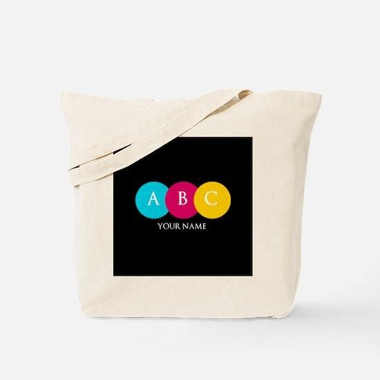 Bright Pop Circles Initials Tote Bag